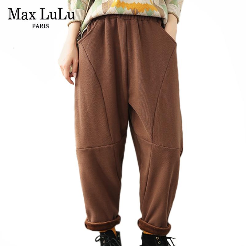 Max LuLu 2019 Fashion Korean Ladies Punk Trousers Women Winter Streetwear Thicken Fur Harem Pants Casual Elastic Warm Pantalons