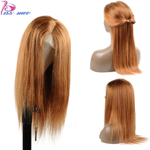 Kissmee 13*4 Dark Blonde Human Hair Lace Front Wig Color 30 Peruvian Straight Lace Wigs Pre Plucked And Bleached Knot Remy Wigs