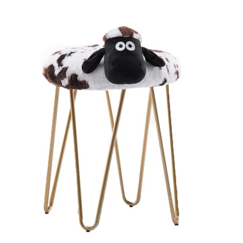 Creative wrought iron makeup stool cartoon lamb washable stool Nordic designer dressing table stool nail shop low stool