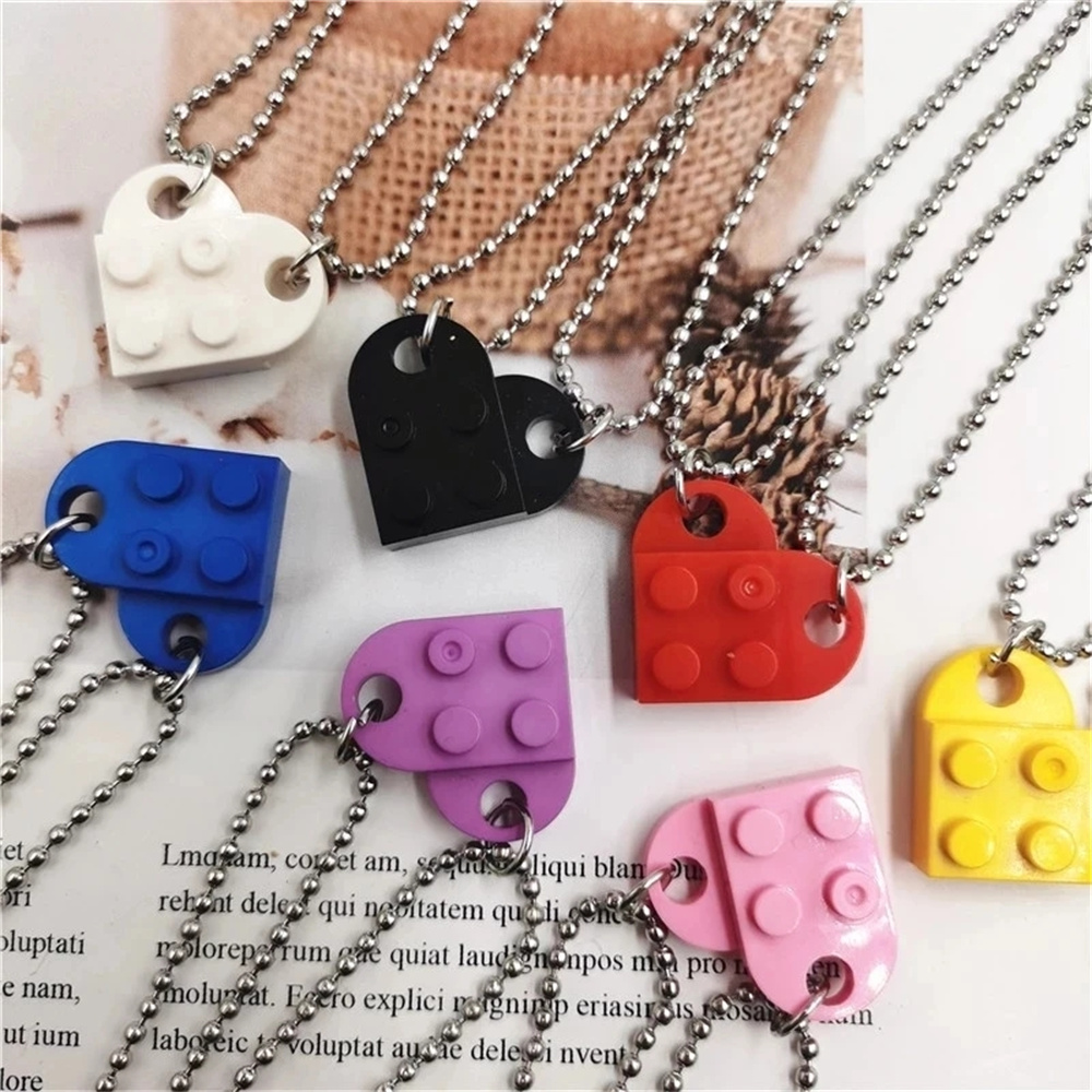 2021 Punk 2Pcs Heart Brick Couples Love Necklace For Lovers Women Men Elements Friendship Necklaces Valentines Gift Jewelry