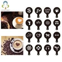 Latte Stencil Template Coffee Mold Decoration Cake Cappuccino Plastic 16pcs/Lot GYH Lifelike