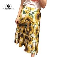 Женские юбки модные трапециевидные юбки с принтом подсолнуха Повседневная Длинная юбка лето