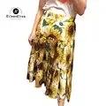 Женские юбки модные трапециевидные юбки с принтом подсолнуха 2019 Повседневная Длинная юбка лето