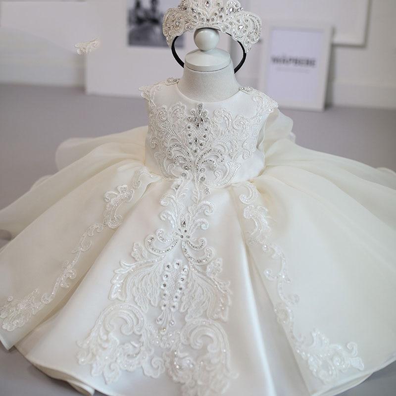 Branco bebê menina vestido crianças 1 ano de aniversário vestido de princesa menina vestidos de flores festa e casamento batismo vestido infantil