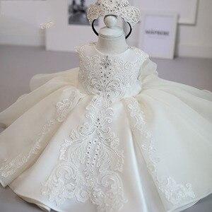 Biała dziewczynka sukienka dzieci 1 rok urodzinowa sukienka księżniczki mała dziewczynka sukienki w kwiaty impreza i na ślub chrzest sukienka niemowlę