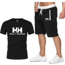 2019 Summer Hot Sale Mens Sets T Shirts+shorts Two Pieces Casual Tracksuit new Male Tshirt Fitness trousers men Set