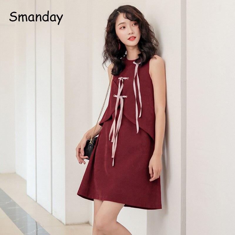 Separate Design Red Velvet Color Ice Casein Blue-green Sleeveless Dress Women's Mid-length 2019 Autumn A- Line Skirt