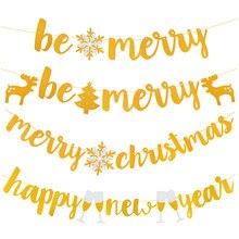 Buon Natale Banner Bandiere di Carta Fiocco di Neve Albero di Natale Bunting Felice Anno Nuovo Hanging Ghirlanda Di Natale Decorazioni per la Casa