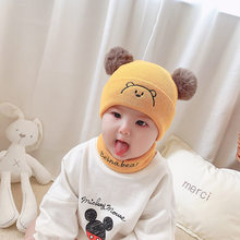 2Pcs Toddler Winter Hat Baby Girls Boys Cute Cartoon Warm Knitted Wool Hemming Hat Beanie Cap+Scarf Keep Warm Set Kids Hat Scarf(China)