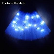 Г. Новогодний светильник светодиодный, детская одежда для девочек юбка-пачка со звездами Праздничная юбка-пачка принцессы, фатиновая юбка-американка детская балетная, танцевальная, светящаяся