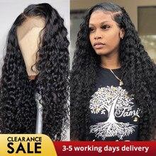 Derin dalga peruk siyah kadınlar için doğal saç çizgisi kıvırcık dalga İnsan saç peruk brezilyalı önceden koparıp dantel ön İnsan saç peruk