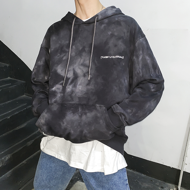 2019 New Hip Hop Hoody Men Tie Dyeing Hoodies Fashion Casual Autumn Front Pocket Letters Colorful Popping Sweatshirts Streetwear