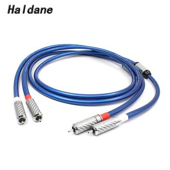 Haldane Pair HIFI Carbon Fber Ring RCA Plug Connector Audio Cable Amplifier CD DVD Player Speaker RCA to RCA Interconnect Cables