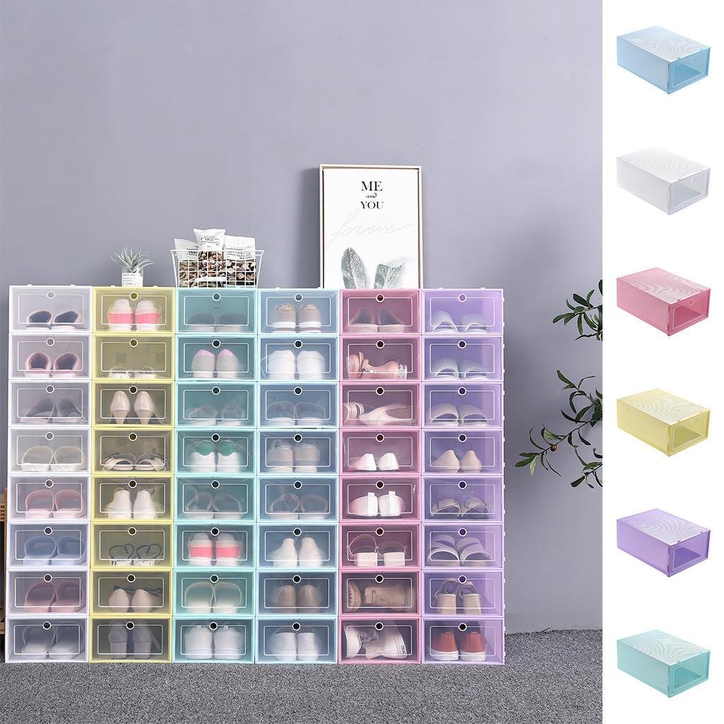 1PC Foldable Clear Shoes Storage Box Plastic Stackable Shoe Organizer Storage Box Makeup Organizer органайзер для косметики