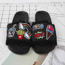 Cartoon sexy shoes Embroidery Slippers Patch Flat Non-slip Open Toe Outdoor Shoes Women Flip Flops slippers slides women sandals