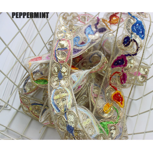 1yard 3/4.6cm Golden Sequins Embroidered Webbing Shinning Trim Sewing Net Yarn Ribbons Clothing Decorative Lace Trim