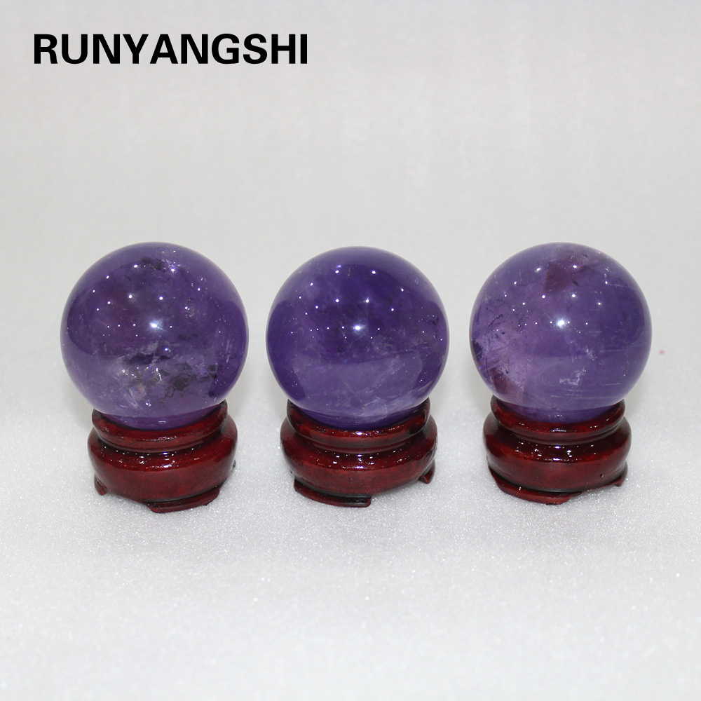Runyangshi 1pc 50mm améthyste naturelle boule de cristal violet quartz sphère boule orbe pierre gemme