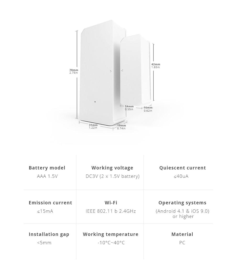 Sonoff dw2 wifi wireless door window sensor open / closed detectors e-welink app alert notification smart home security alarm (sonoff dw2)