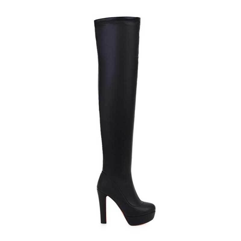 REAVE แมวผู้หญิงรองเท้าเซ็กซี่แพลตฟอร์มรองเท้าบูทบูทเหนือเข่ารองเท้าส้นสูงสีดำ booties