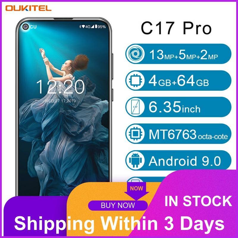 "OUKITEL C17 Pro Smartphone 4GB RAM 64GB ROM 6,35 ""Android 9,0 19:9 MT6763 identificación facial Octa Core 13.0MP 3900mAh 4G LTE móvil teléfono"