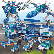 700Pcs City SWAT Police Headquarters Truck Car Playmobil Building Blocks Sets LegoINGs Technic Juguetes Bricks Toys Lepinblocks(China)