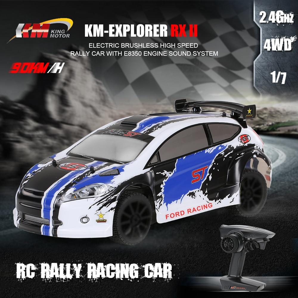 KM-Explorer RX II 1/7 2.4G 4WD sans brosse 90 KM/h haute vitesse RC rallye voiture de course avec moteur E8350 système de son jouets électriques