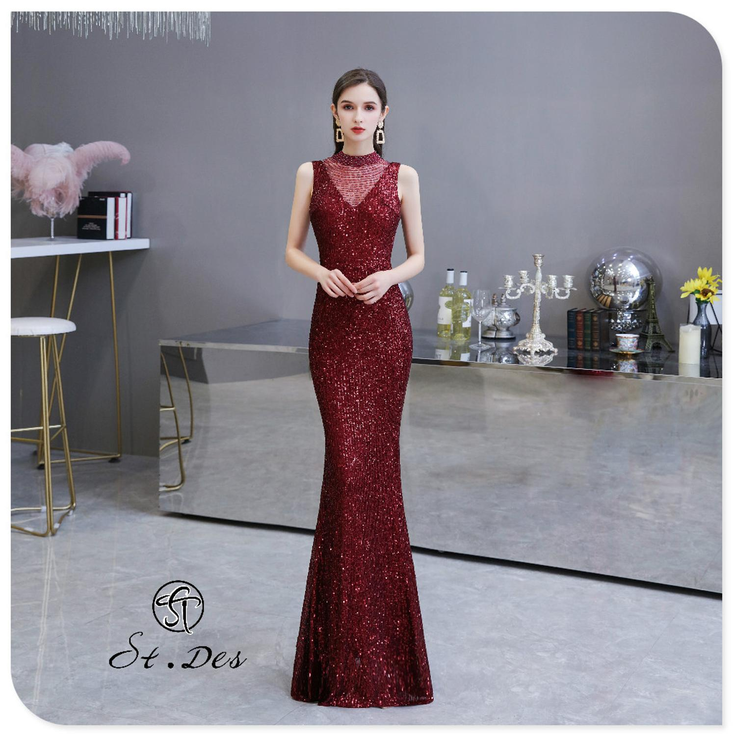 S.T.DES Evening Dress 2020 New Arrival Colorful Beading Mermaid V-Neck Wine Sleeveless Floor Length Party Dress Dinner Gowns