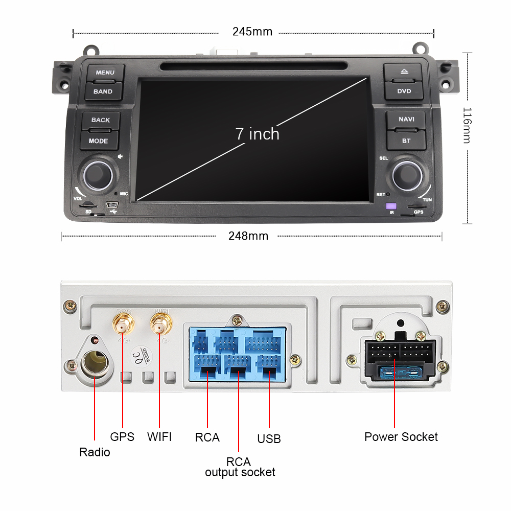 Eunavi 1 Din Android 9.0 Auto Dvd speler Voor Bmw E46 M3 Rover 3 Serie 7 Inch Radio Stereo Gps navigatie Head Unit Wifi Dsp Usb - 3