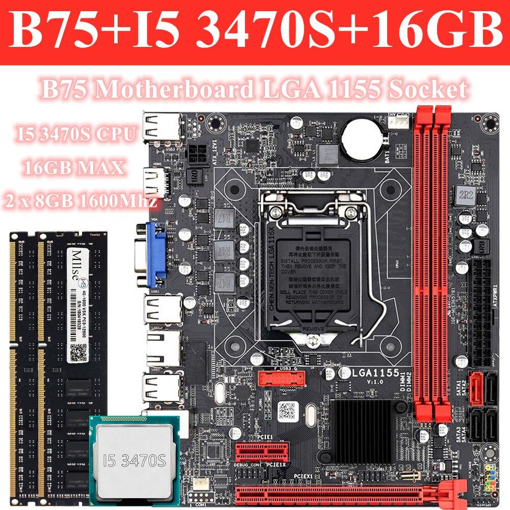 Gaming-jeu de carte mère B75, carte mère LGA 1155, avec processeur Intel Core I5 3470S, 2x8 go (16 go), 1600MHz DDR3, RAM ordinateur de bureau de mémoire
