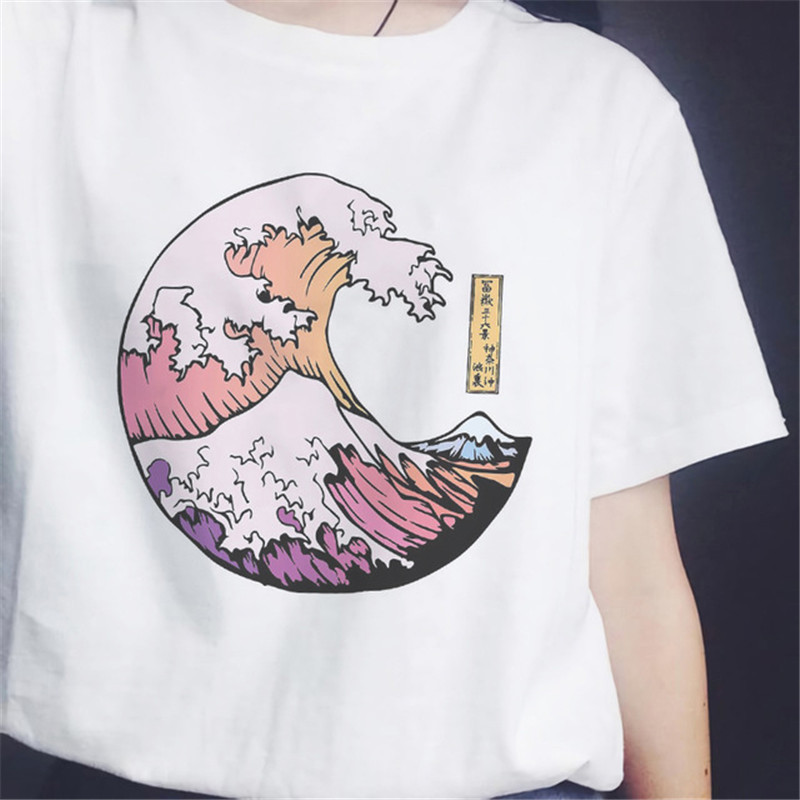 The Great Wave T Shirt Women Grunge Tumblr Tee Harajuku Cute Short Sleeve T-shirts Summer Camisas Mujer Tee Shirt Femme