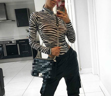 2019 autumn womens T-shirt zebra pattern long-sleeved t-shirt  Street fashion onesies