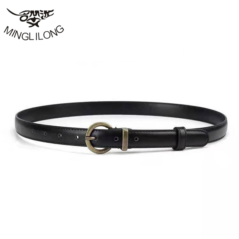 Minglilong Retro Belt Female Simple And Euphoristic Korean Edition Student Black Fashion Personality Pants With Slender Belt