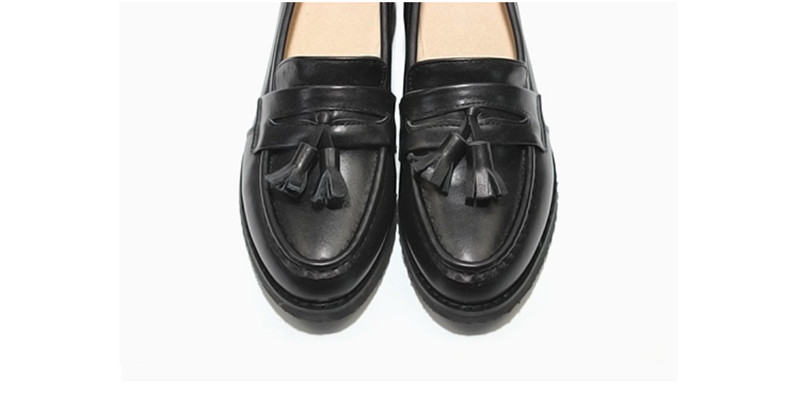 Spring Autumn New Pedal Genuine Leather Loafers Shoes Women British Polished Flat Tassel Oxford Shoes For Woman Large Size 32-43 (20)