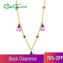 Santuzza Zilveren Ketting Voor Vrouw 925 Sterling Zilver Delicate Roze Bloem Bruiloft Engagement Mode sieraden Handgemaakte Enaml
