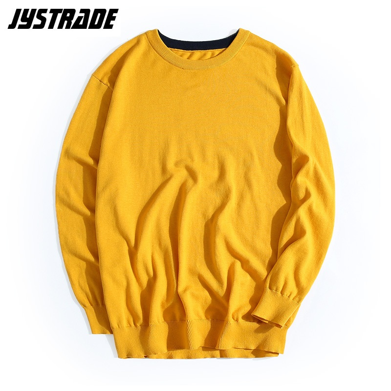 Mens Oversized Yellow Sweater Autumn Long Sleeve Knitted Sweater Dress Male Warm Pullover Top Streetwear Cotton Loose Coat Man