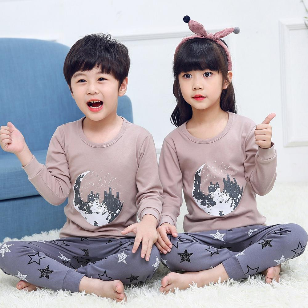 Children Cotton Pajamas Clothing Set Autumn Winter Long-sleeved+pant 2 Piece Pyjamas Kids Cartoon Sleepwear Sleep Suit Homewear