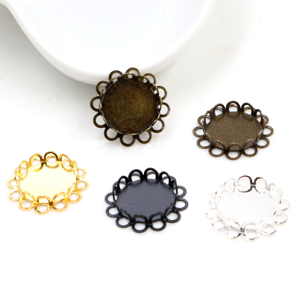 14pcs 12mm Inner Size 4 Colors Plated Brass Material Simple Style Cabochon Base Cameo Setting Charms Pendant Tray