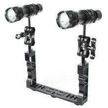 Aluminum alloy Diving Camera Holder Handle Tray Grip Bracket Flashlight Kit for Go Pro Action Camera Underwater Photography