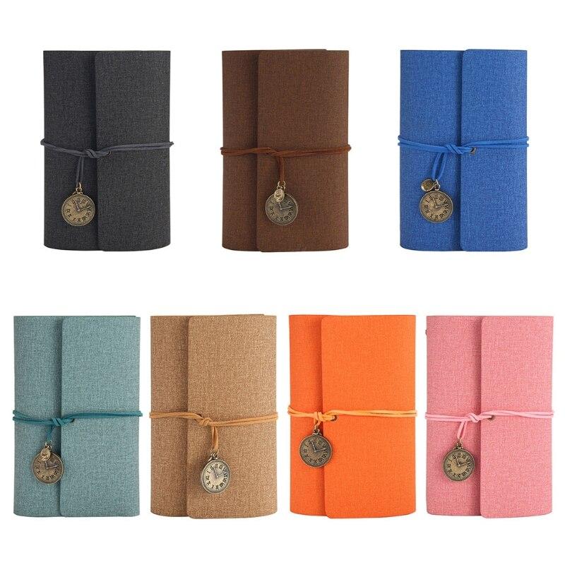A6 Loose-Leaf Tri-fold Travel Handbook Pu Leather Notebook Stationery Notepad Multi-Purpose Scrapbook Convenient 7 Color