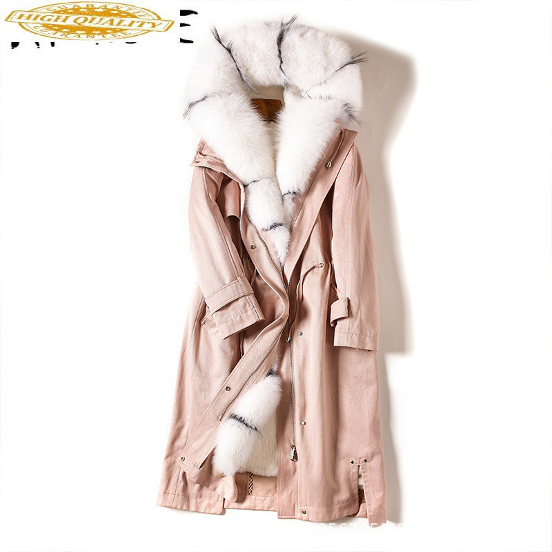 Real Fur Coat Women Rabbit Fur Jacket Korean Winter Coat Women Long Real Fur Parka Hooded Abrigo Mujer 865020 YY1427