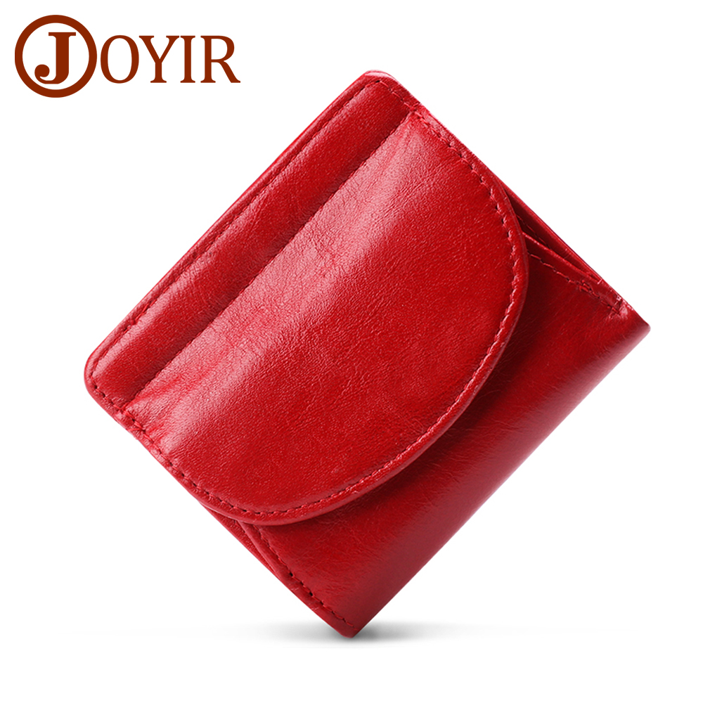 JOYIR Women's Mini Wallet Genuine Leather Female Small Card Holder Short Purses With Coin Proket For Girls Money Bag Cartera