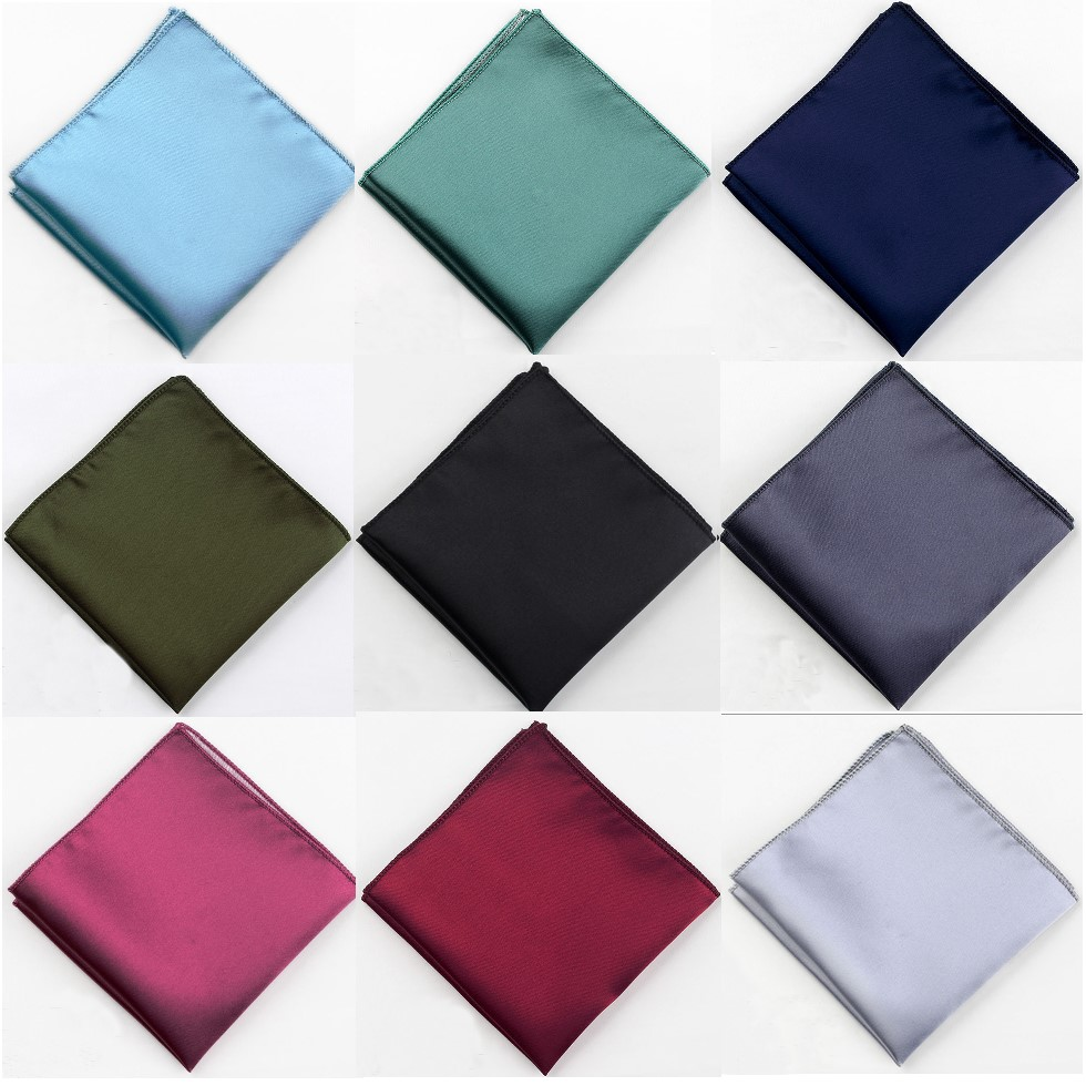 Solid Plain Men Suit Pocket Handkerchief Solid Color Pocket Square Scarf Wedding Dress Chest Towel Handkerchief