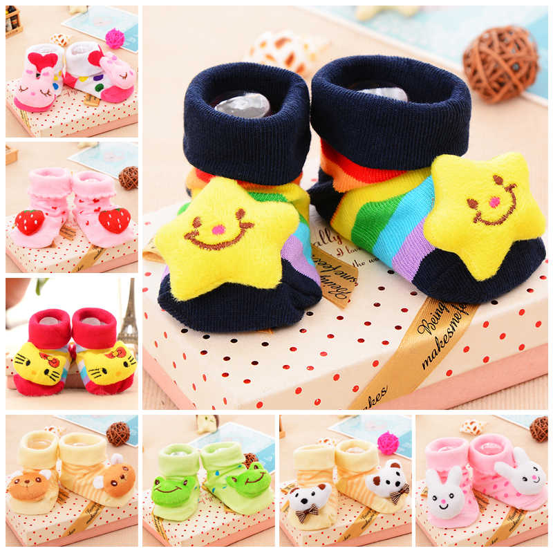 Baby Cute Socks Rubber Anti Slip Floor Cartoon Socks Kids Toddlers Autumn Spring Fashion Animal Newborn  0-6-12month