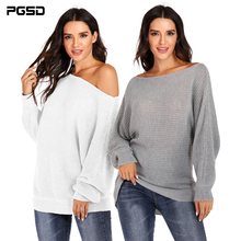 PGSD solid casual Autumn winter women clothes Irregular Bat Sleeve boat neck loose Slant shoulder knitted pullover sweater girl