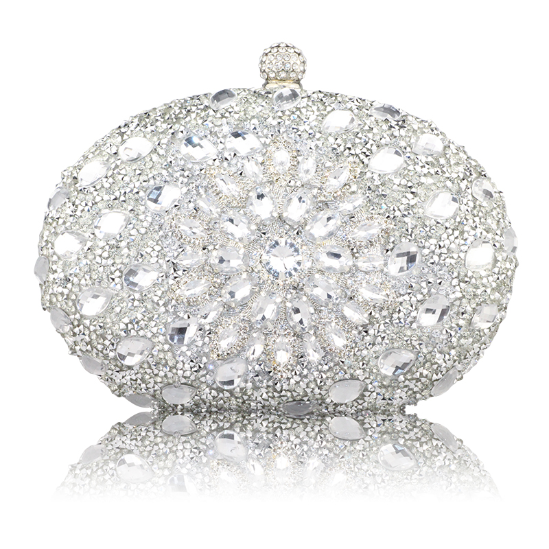 Image 5 - Wedding Diamond Floral Woman Bag Clutch Bag Blue Crystal Handbags Sling Package cell phone pocket Matching Bag Wallet Purse-in Top-Handle Bags from Luggage & Bags