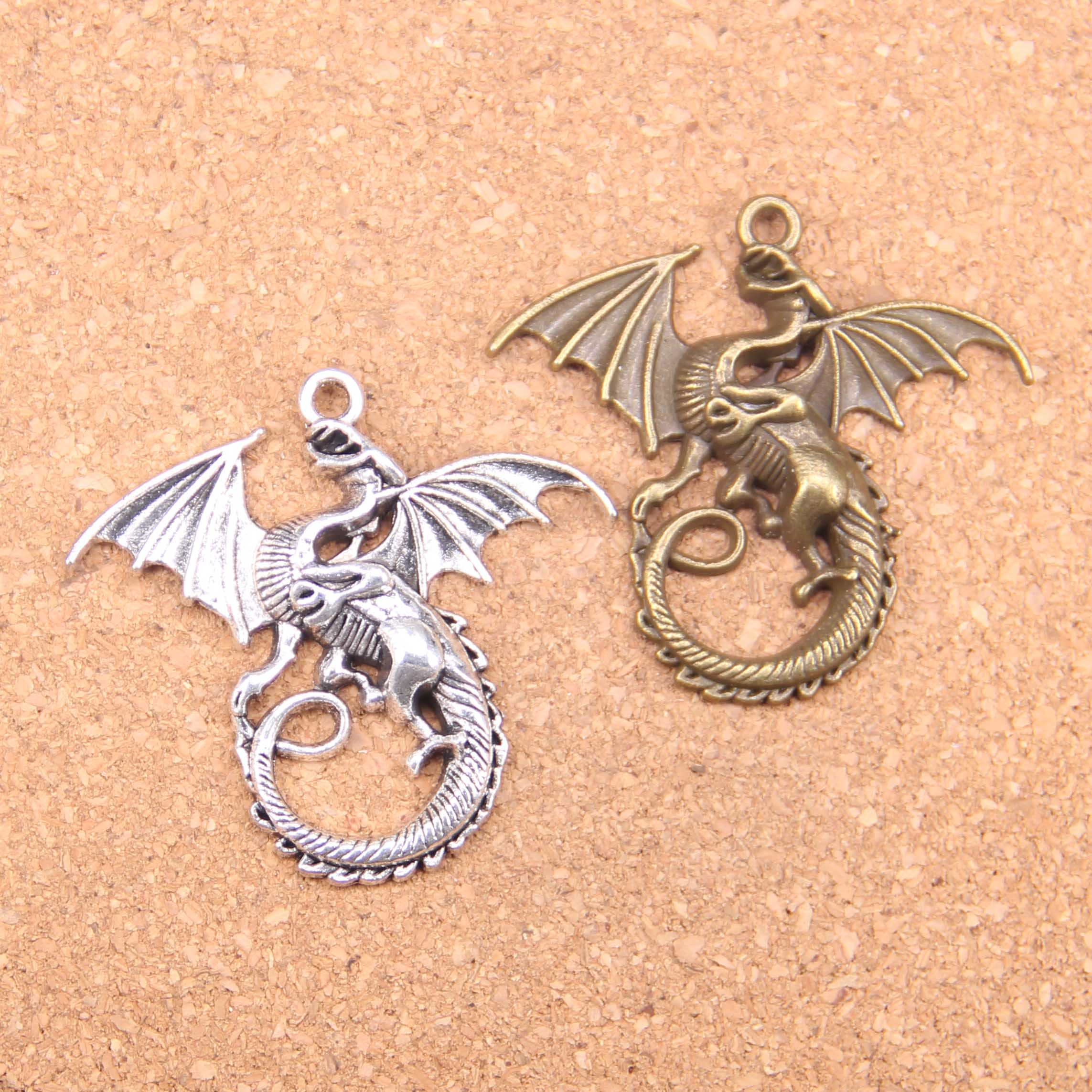 6PCS Vintage Silver Alloy Chinese Dragon Pendants Charms Findings Crafts 51176