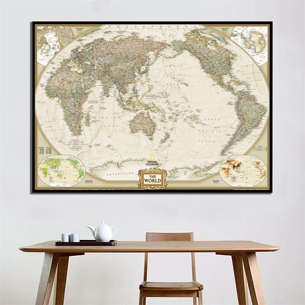 24x36 Inch The Wolrd Political Map HD National Geographic Map For Living/Study Room Wall Decor Canvas Painting
