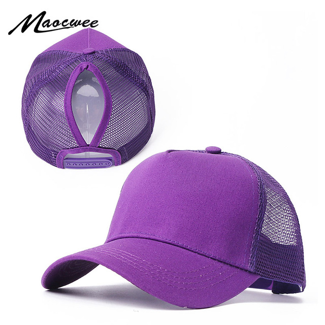 New Baseball Caps Mesh Spring Summer Outdoor Sprot Hat With Ponytail Hole Breathable Snapback Adjustable Caps For Men And Women