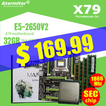 Atermiter X79 Turbo Papan Utama LGA2011 ATX Combo E5 2650 V2 CPU 4 Pcs X 8GB = 32GB DDR3 ram 1866 MHZ PC3 1490R Pci-e NVME M.2 SSD(China)