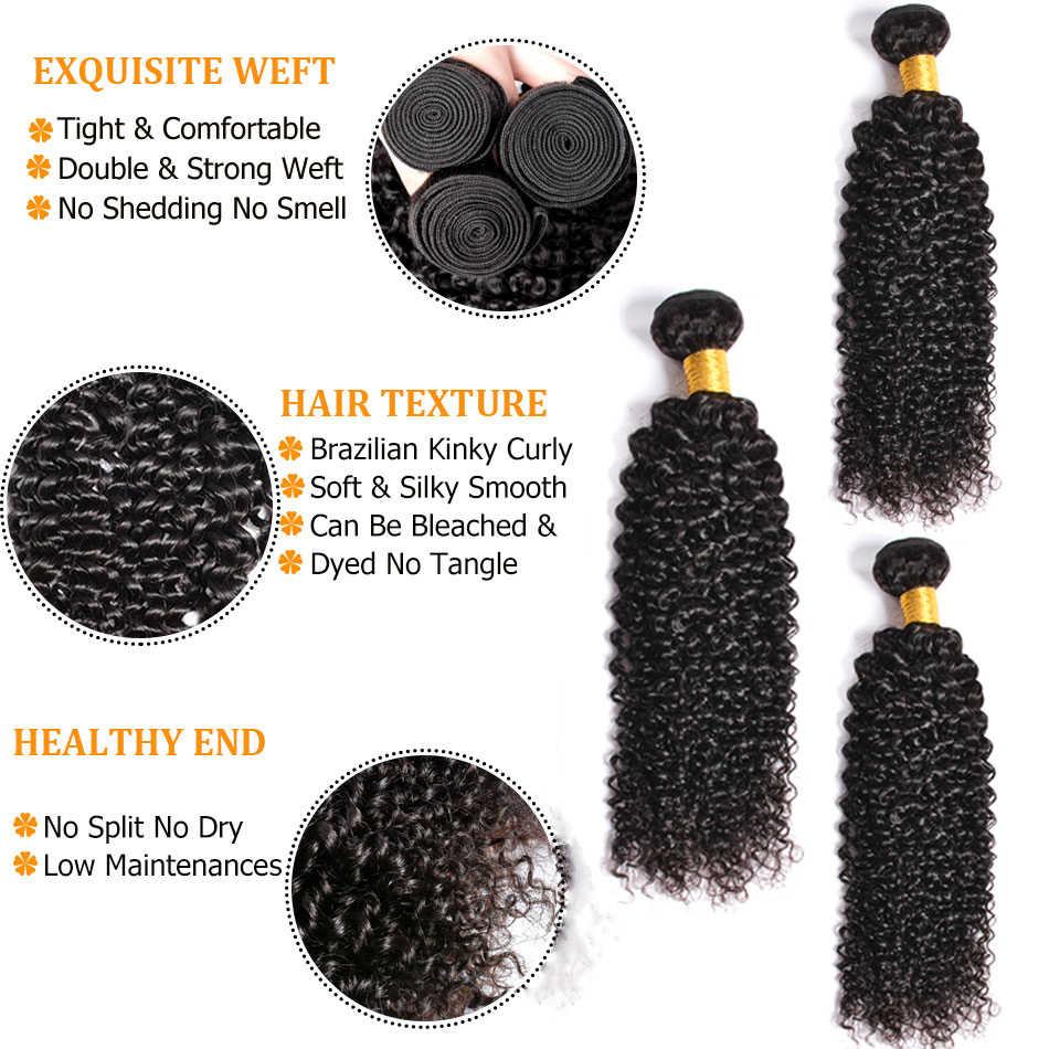 Бразильские пучки вьющихся волос Солнечный свет человеческих волос пучки волос плетение Пряди человеческих волос для наращивания 1B # Волосы remy 1/3/4 шт.